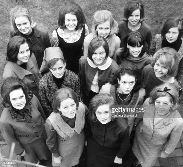 Girls chosen as models for the Berkeley Debutante Dress Show. They are from left - back row - Francis Taylor, Rosalind Hoare, Jill Sidebottom,...