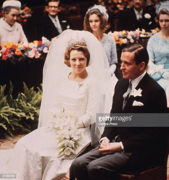 Wedding of Crown Princess Beatrix of the Netherlands to West-German diplomat, Herr Claus von Amsberg in Amsterdam.