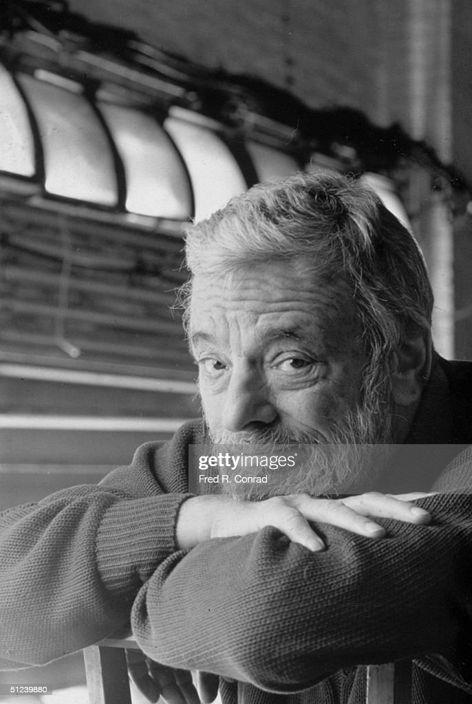 10th March 1994, Headshot portrait of American composer and lyricist Stephen Sondheim, resting his chin on his arms, backstage at the Plymouth Theater in New York City . Sondheim's play 'Passion' was performed at the theater.