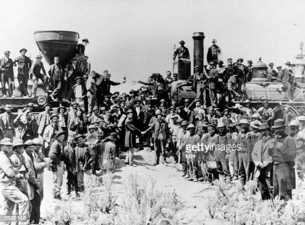 After the last spike of the transcontinental Railroad is driven at Promontory Utah the locomotives of the Canadian Pacific and the Union Pacific...