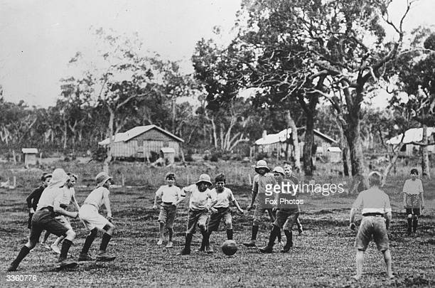A group of English boys playing football at Fairbridge Farm School at Pinjarra Western Australia They are some of the hundreds of children from...
