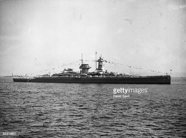 German battleship 'Admiral Graf Spee' at the Naval Review Spithead The crew line the rails