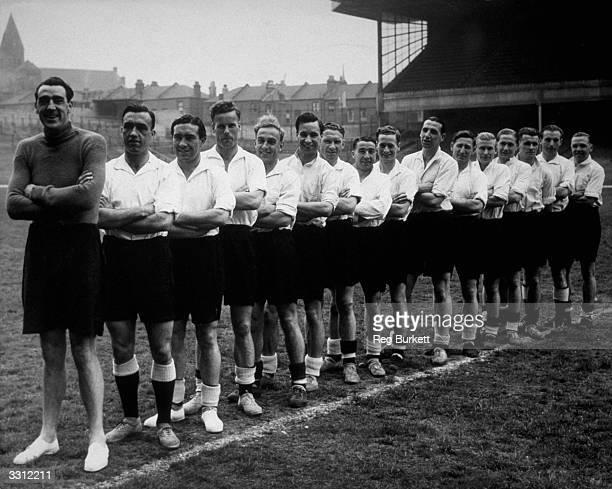 Members of the England football team pose for a picture at Highbury before the start of a series of International matches Left to Right Frank Swift...