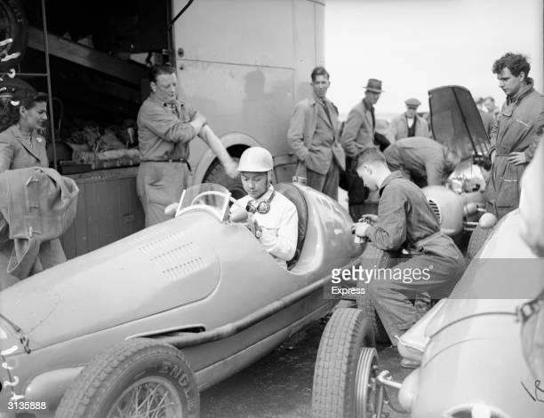 Prince Birabongse of Siam in his Gordini at Silverstone Racetrack