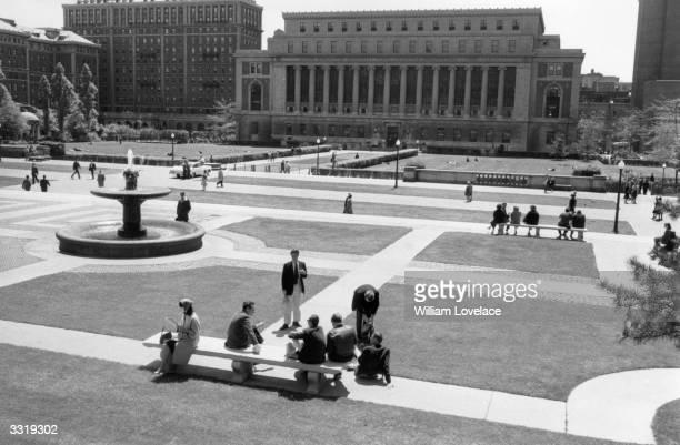 Columbia University New York seen across formal gardens