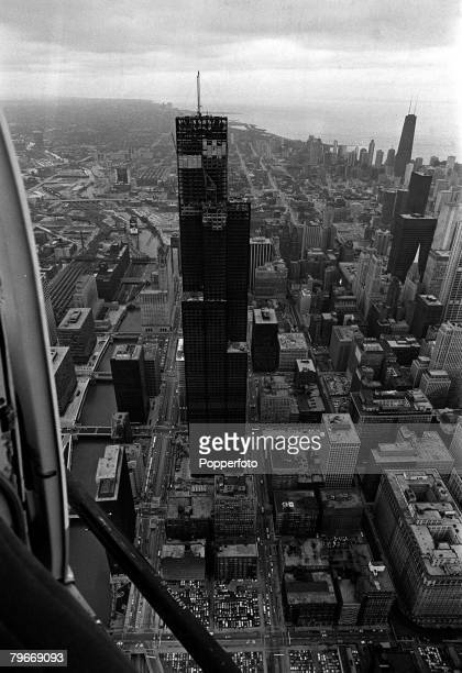 Chicago USA The Sears Tower nearing completion stands tall at 1454 feet to dominate the Chicago skyline Constructed in the 1970s it was the world's...