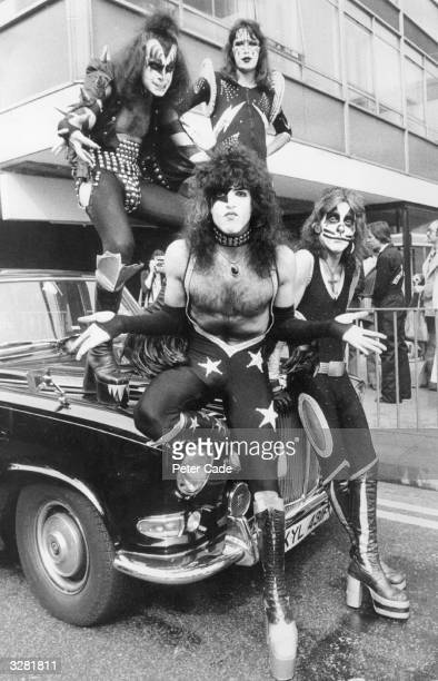 American glam rock band KISS arrive at London Airport in all their finery the boys are here to start their first ever European tour and have brought...