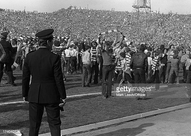 10th May 1980 Scottish FA Cup Final Celtic v Rangers Jubilant Celtic fans taunt the Rangers fans after Celtic's 10 extratime victory at Hampden Park