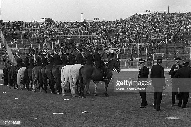 10th May 1980 Scottish FA Cup Final Celtic v Rangers Mounted police after the Celtic fans had been cleared from the pitch