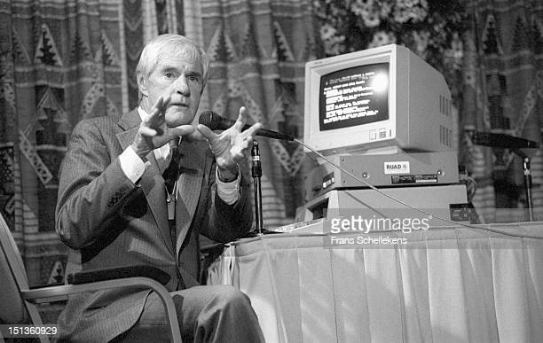 American psychologist Timothy Leary talks at the Barbizon Hotel in Amsterdam Netherlands on 10th May 1987