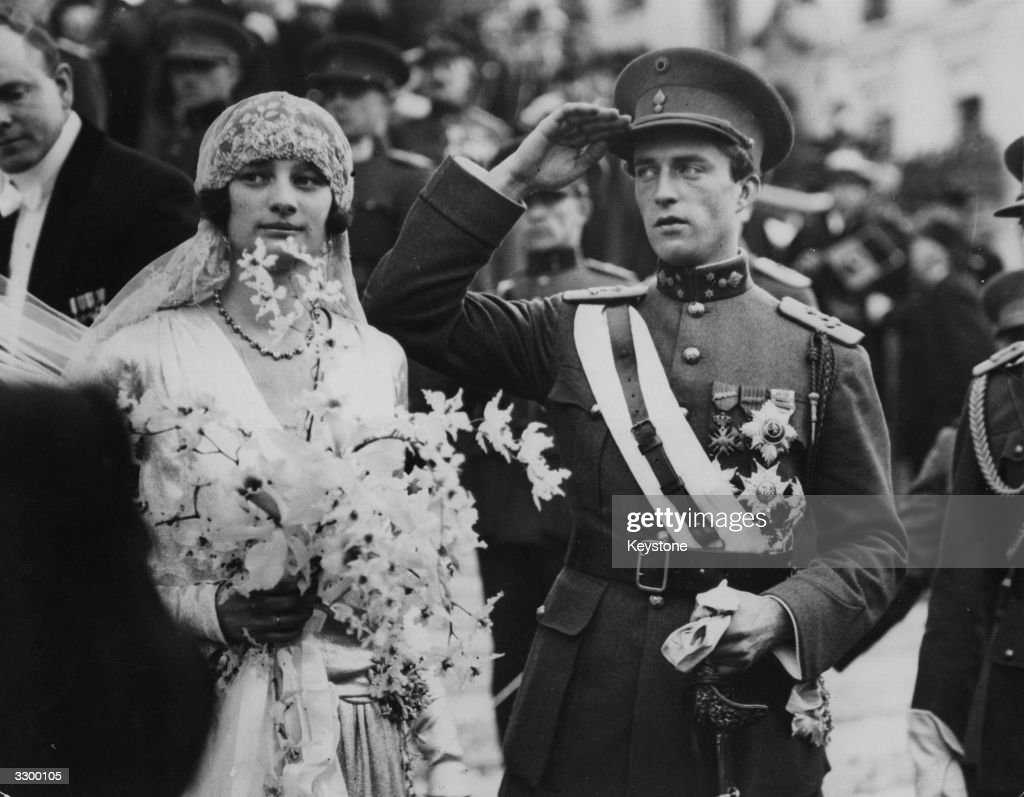 King Leopold III of Belgium (1901 - 1983) with his bride, Queen Astrid (1905 - 1935) just after their wedding in Brussels. Queen Astrid was killed and her husband injured in a car crash in 1935.