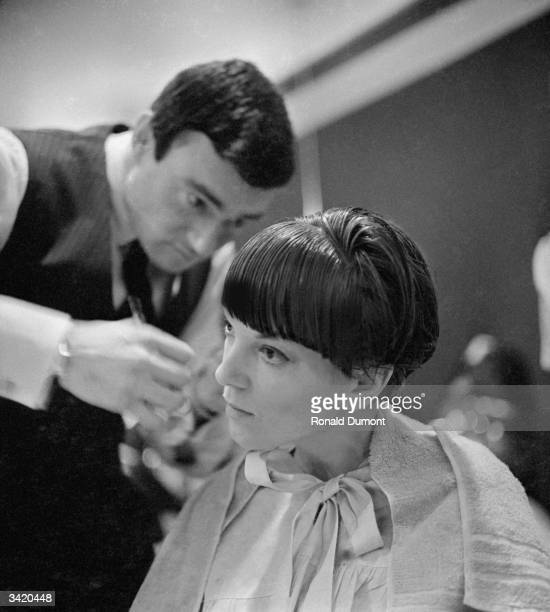 Clothes designer Mary Quant one of the leading lights of the British fashion scene in the 1960's having her hair cut by another fashion icon...