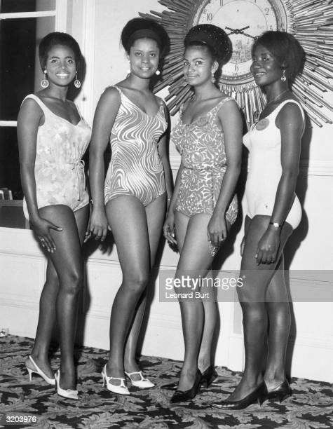 Four contestants from Africa line up at their London hotel before the 1967 Miss World beauty contest From left to right they are Miss Tanzania Miss...