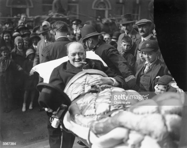 Winston Churchill 1874 1965 leaving a Nursing Home surrounded by people