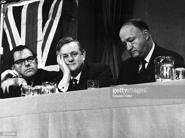 Chancellor of the Exchequer Reginald Maudling at the Conservative Party Conference at Blackpool with Lord Hailsham and the deputy prime minister...