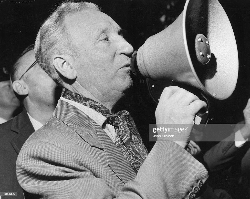 Jack Dash, Communist and unofficial dockers' leader, addressing a crowd through a loudhailer.
