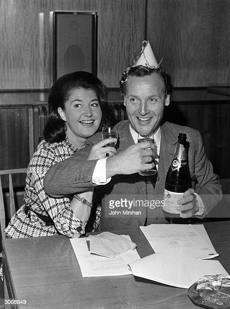 British light entertainer Nicholas Parsons celebrating his 39th birthday with his wife Denise Bryer