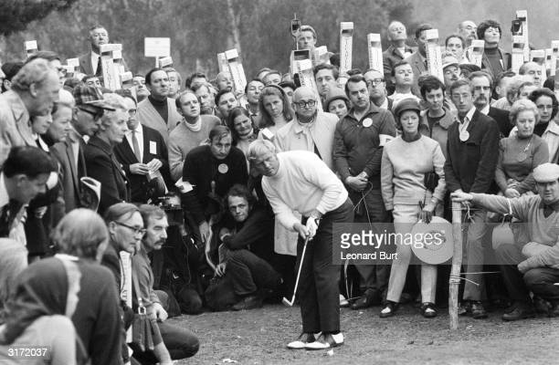 The American golfing star Jack Nicklaus playing off the rough at the Piccadilly World Match-Play Championship final at Wentworth. Nicklaus went on to...