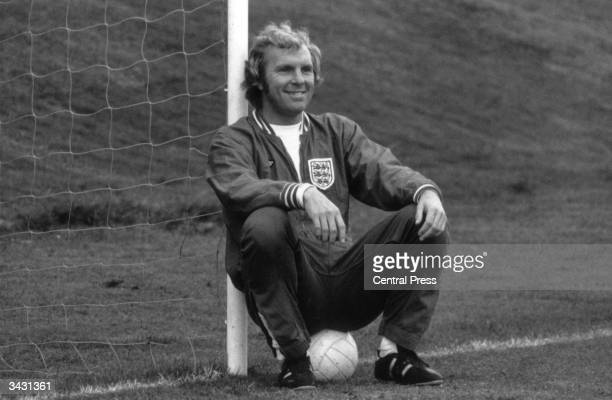 England and West Ham captain Bobby Moore relaxing during an England training session