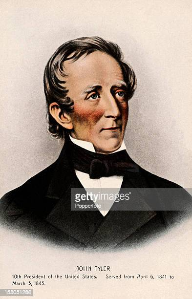 10th President of the United States John Tyler featured on a vintage colour postcard published circa 1900 Tyler served as president of the United...