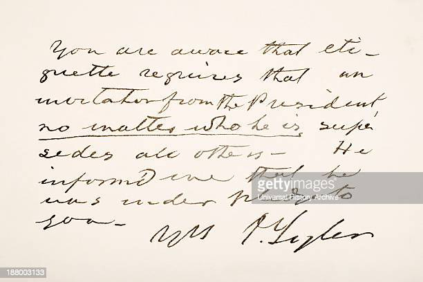 10Th President Of The United States Of America Hand Writing Sample