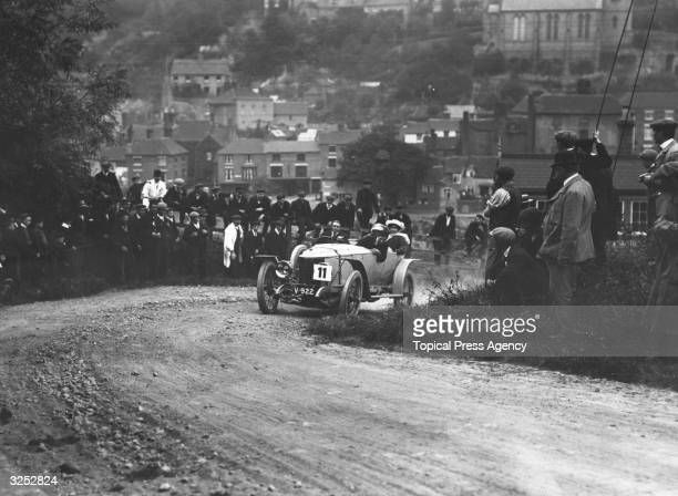 A J Hancock rounds a hair pin bend in his Vauxhall during the Wolverhampton Automobile Club hill climb at Ironbridge