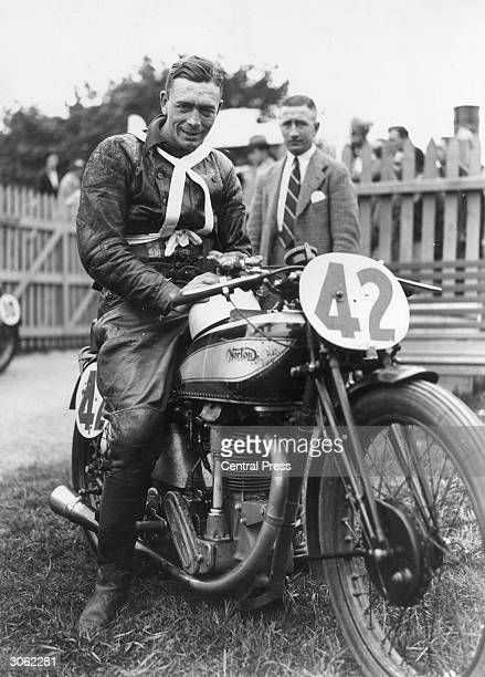 Frith on a Norton after he had won the Junior TT in the Isle of Man.