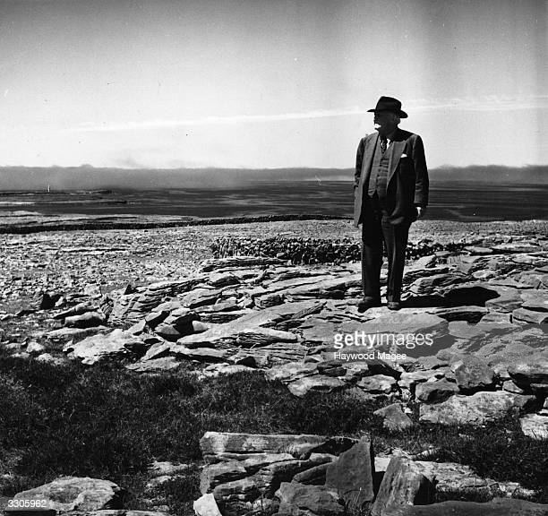 US film director Robert Flaherty who directed the film 'Man of Aran' in 1934 walking in the Aran Islands in County Galway Original Publication...