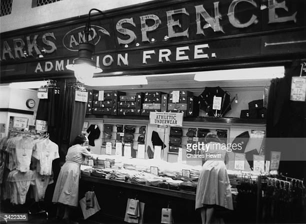 Marks and Spencer's Original Penny Bazaar in NewcastleuponTyne selling 'athletic underwear' Original Publication Picture Post 7984 Marks and...