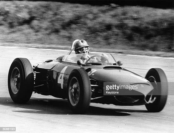German racing ace Wolfgang von Trips in his Ferrari just before the crash which killed him and at least eleven spectators at Monza