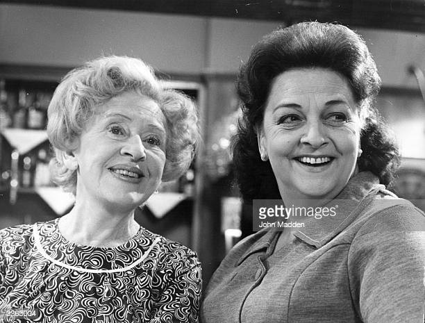 Actress Doris Speed as Annie Walker and Betty Driver as Betty Turpin in the television series 'Coronation Street'