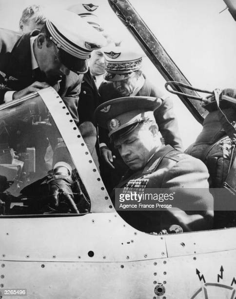 Soviet Air Force Marshal Koutakhov sits in a French Air Force Dassault Mirage 111 jet fighter at Reims Champagne air base France