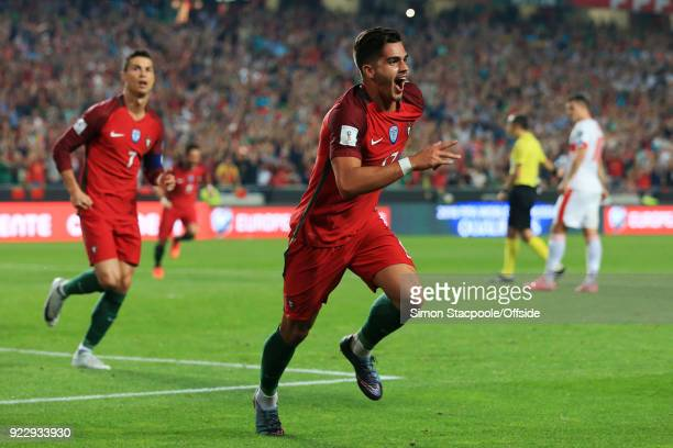 10th September 2017 2018 FIFA World Cup Qualifying Portugal v Switzerland Andre Silva of Portugal celebrates after scoring their second goal