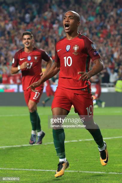 10th September 2017 2018 FIFA World Cup Qualifying Portugal v Switzerland Joao Mario of Portugal celebrates after scoring their first goal