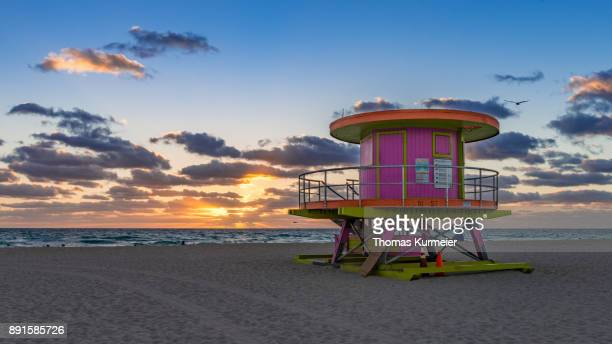 10th street beach hut - miami beach stock photos and pictures