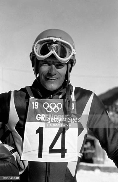 10Th Winter Olympics 1968 Grenoble JO de Grenoble 1968 Ski alpin Le 9 février JeanClaude KILLY dossard n° 14 remporte la descente messieurs sur la...
