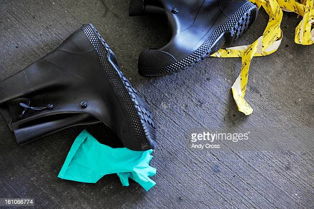 DENVER COLORADOJUNE 10TH2008Rubber boots chem tape and rubber gloves shed after a mass casualty drill at Presbyterian/St Luke's Tuesday morning The...