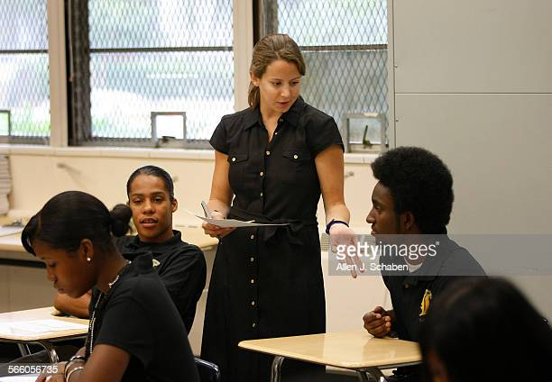 10thgrade English teacher Beth Schmidt works with students at Alain Leroy Locke High School in Watts on the first day of school Locke High School is...