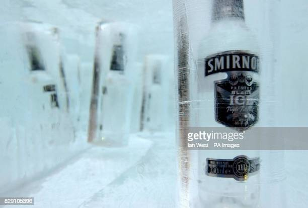 A 10tonnes ice cube at Broadgate Arena near London's Liverpool Street Station The 25 squaremetre block of ice houses 100 bottles of Smirnoff Black...