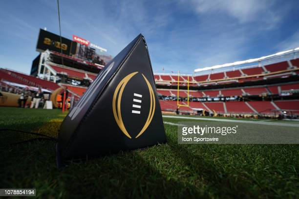 Yard line pylon prior to the start of the Alabama Crimson Tide's game versus the Clemson Tigers in the College Football Playoff National Championship...