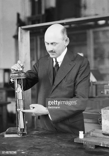 1/10/1924Prof Goddard with the first rocket he experimented with charged with gun cotton Robert H Goddard instructor of physics at Clark College of...
