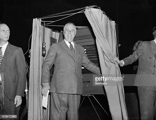 Hyde Park NYPresident Franklin D Roosevelt is pictured in the voting booth of the Town Hall not far from his Hyde Park estate after casting his...