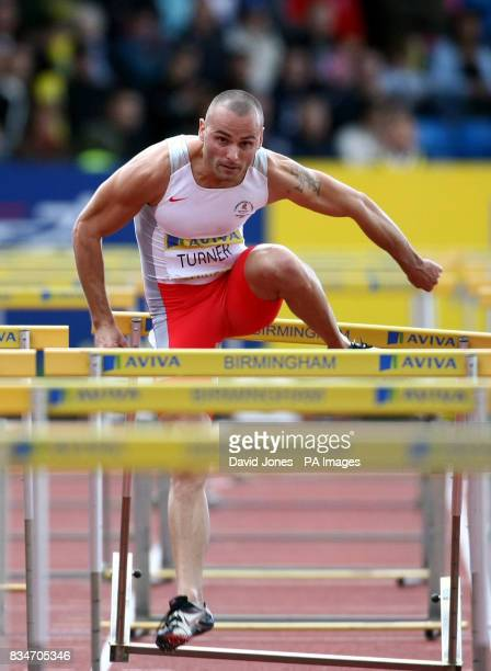 110m Hurdler Andy Turner competes during the Norwich Union Olympic Trials and UK Championships at the Birmingham Alexander Stadium in Birmingham