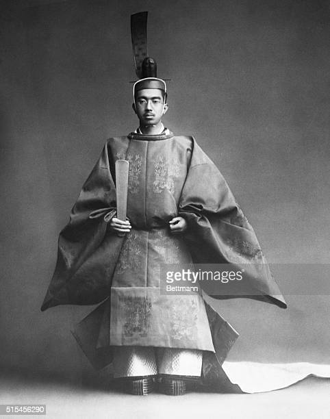 Emperor Hirohito in coronation robe. Photograph, Nov. 10, 1928. BPA2# 4283