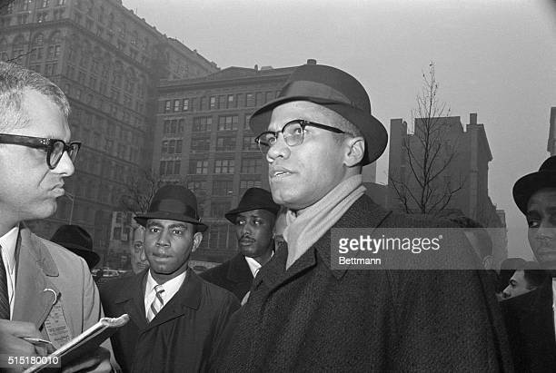 1/11/1963New York NY Malcolm X head of the New York branch of the Black Muslim religious sect talks with newsmen during a demonstration before the...