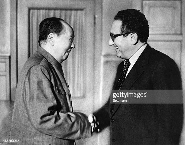 Peking China Chairman Mao TseTung of the People's Republic of China meets U S Secretary of State Henry Kissinger here Nov 12 Kissinger was summoned...