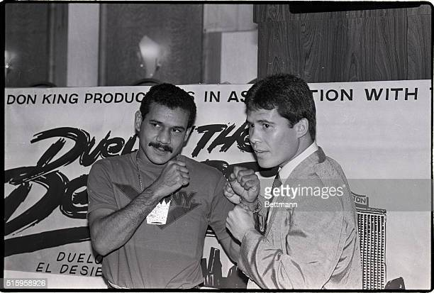 11/12/87Los Angeles California WBA lightweight champion Edwin Rosario and challenger Julio Cesar Chavez pose for photographers at a press conference...