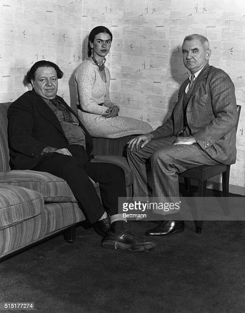 Mural artist Diego Rivera outstanding leader of the recent Mexican Renaissance in painting pictured with his wife artist Frida Kahlo and Anson Conger...