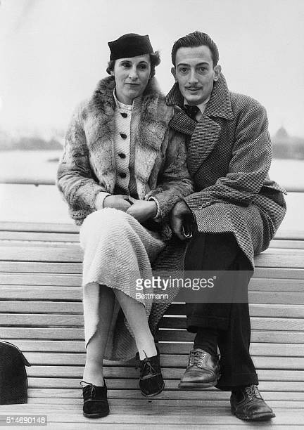New York NY Mr and Mrs Salvador Dali seen on the SS Champlain on their arrival November 14th Mr Dali is the wellknown Spanish painter here for an...