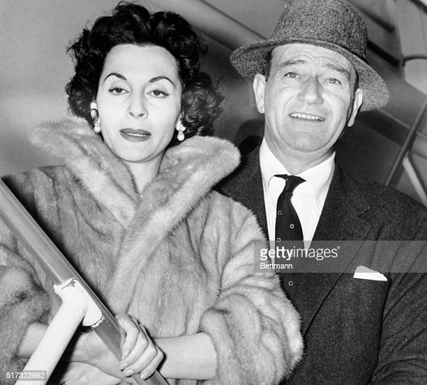 John Wayne and wife Pilar heading to Tripoli for a short vacation and movie making